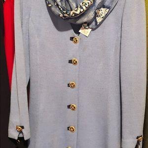 St. John blue dress +scarf Size 8 dry cleaned $399